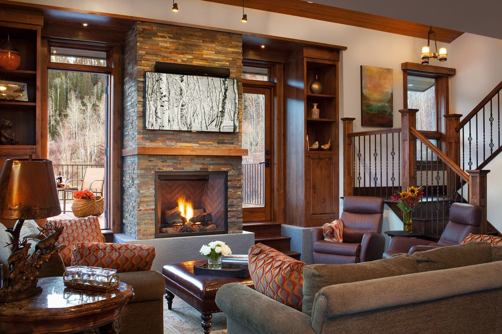 Csl Lighting for a Rustic Living Room with a Built in Cabinets and Tree Haus Renovation by West Elevation Architects Inc