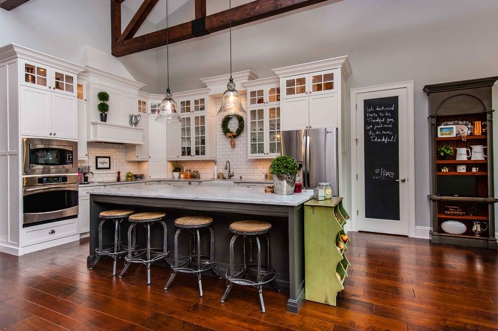 Csl Lighting for a Traditional Kitchen with a Gray Wall and Brittsan House (By: Tolaris Homes) by Mjs Inc. Custom Home Designs