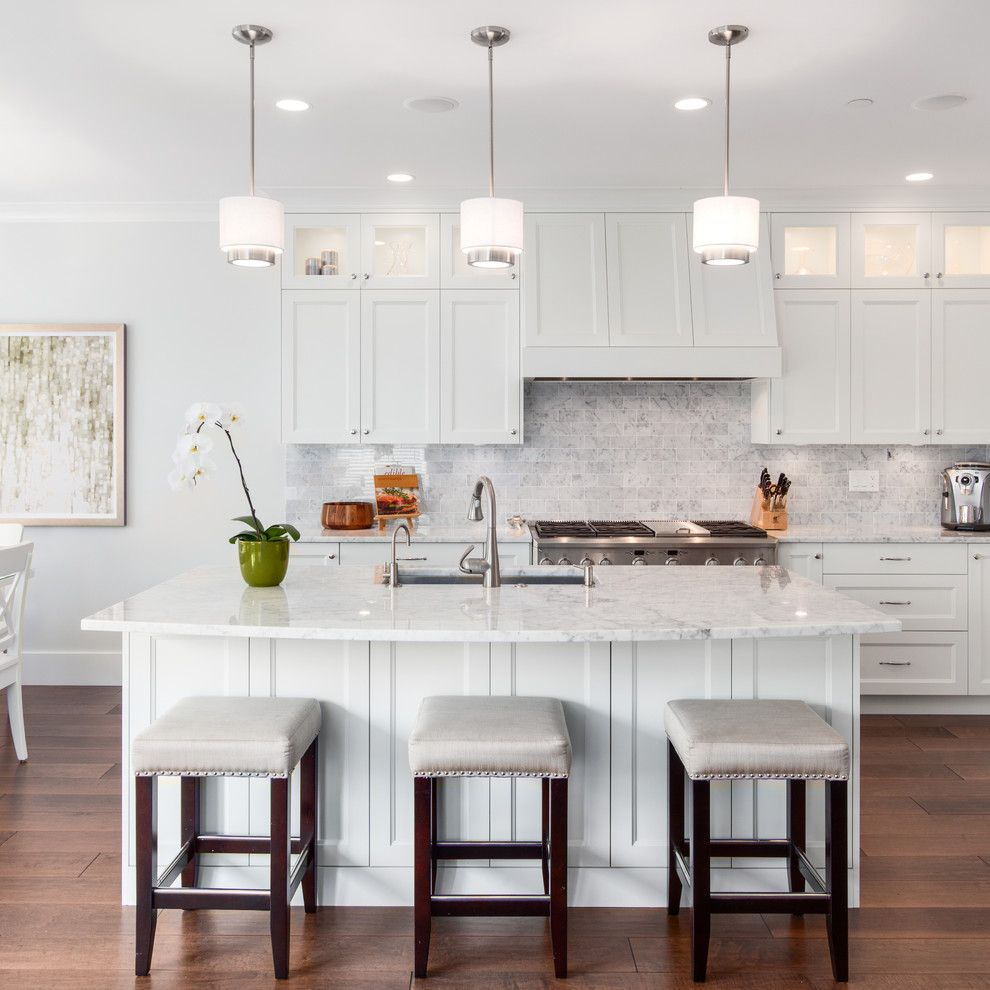Csl Lighting for a Transitional Kitchen with a Dining Tabl and the Colonel's Place by Sarah Gallop Design Inc.