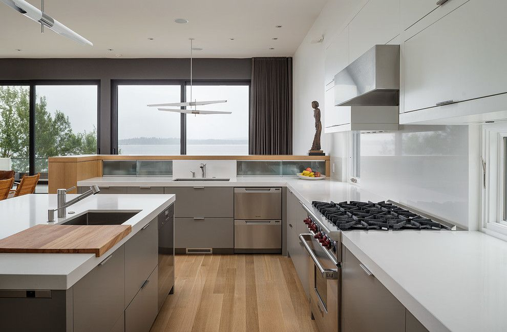 Cumtv for a Modern Kitchen with a Gray Cabinets and Madrona Residence by Ccs Architecture