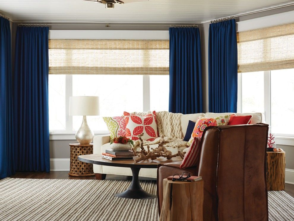 Cute Living Room Ideas for a Contemporary Living Room with a Family Room and Woven Wood Shades for the Living Room by Budget Blinds