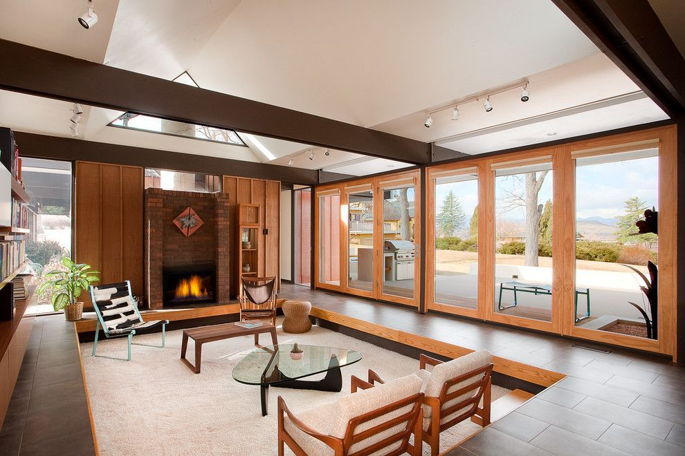 Cute Living Room Ideas for a Modern Living Room with a Floor to Ceiling Windows and Busch House - Living Room by Vega Architecture