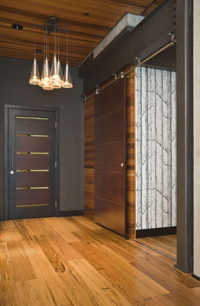 D Lawless Hardware for a Contemporary Entry with a Tree Wallpaper and Crane Building Penthouse by Giulietti Schouten Architects