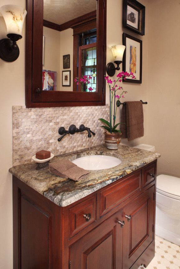 Daltile Denver for a Traditional Powder Room with a Vanity Lighting and Bathroom by Kitchen Distributors