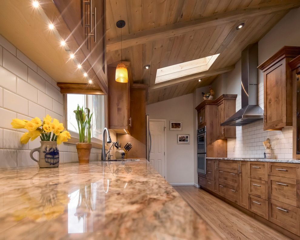 Daltile Denver for a Transitional Kitchen with a Mountain Modern Kitchen and Mountain Modern Kitchen by Gilded Interiors