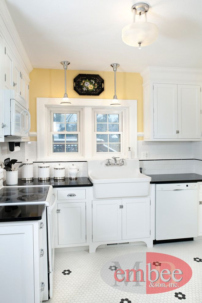 Daltile Keystones for a Farmhouse Kitchen with a Farmhouse Design and Farmhouse Kitchens by Embee and Son
