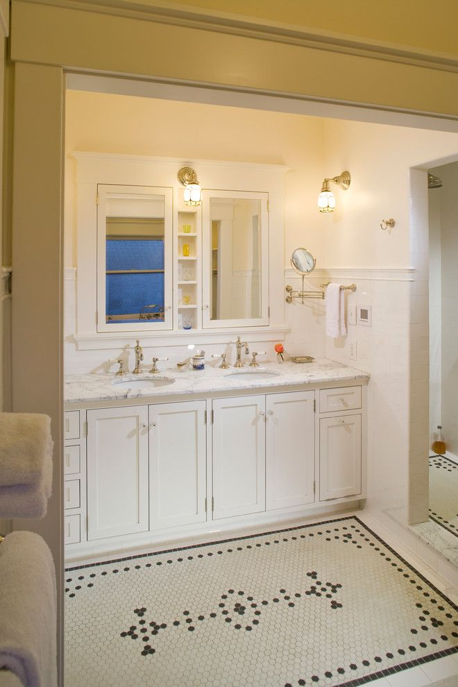 Daltile Keystones for a Traditional Bathroom with a Subway Ceramics Tile Rohl Faucets Rejuve and Summit Kitchen and Bath by the Johnson Partnership