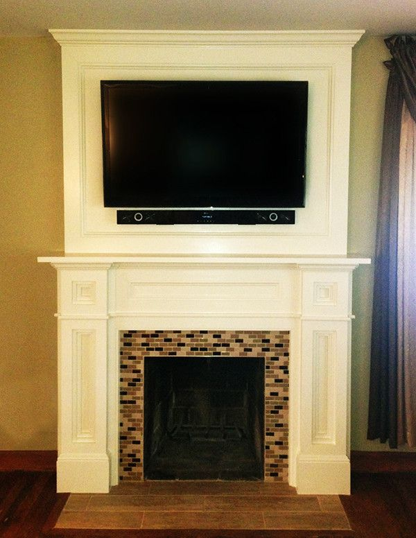 Daltile Keystones for a Traditional Family Room with a Mantel and Custom Fireplace Surround by Fa Design Build / Flooring America