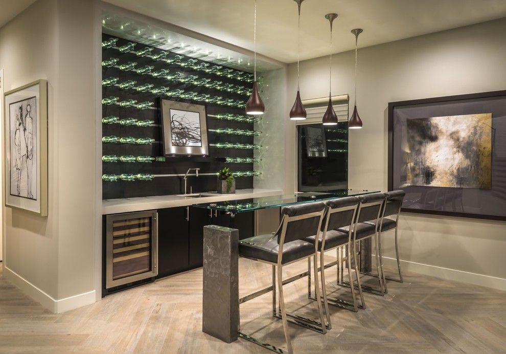 Daltile Las Vegas for a Contemporary Home Bar with a Low Hanging Pendant Lights and Plan 2 Bar at Lago Vista at Lake Las Vegas by William Lyon Signature Home