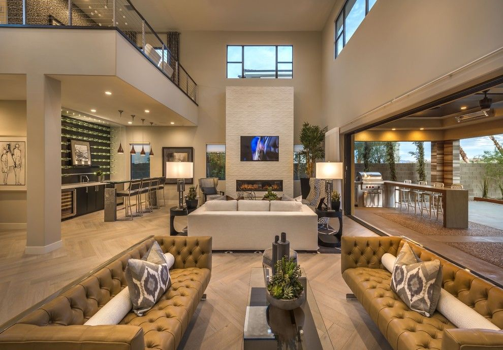 Daltile Las Vegas for a Contemporary Living Room with a Glass Dining Table and Plan 2 Great Room at Lago Vista at Lake Las Vegas by William Lyon Signature Home
