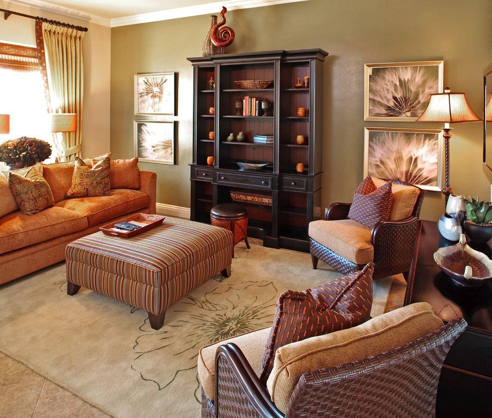Daltile Las Vegas for a Contemporary Living Room with a Orange Sofa and Las Vegas Home by Gates Interior Design