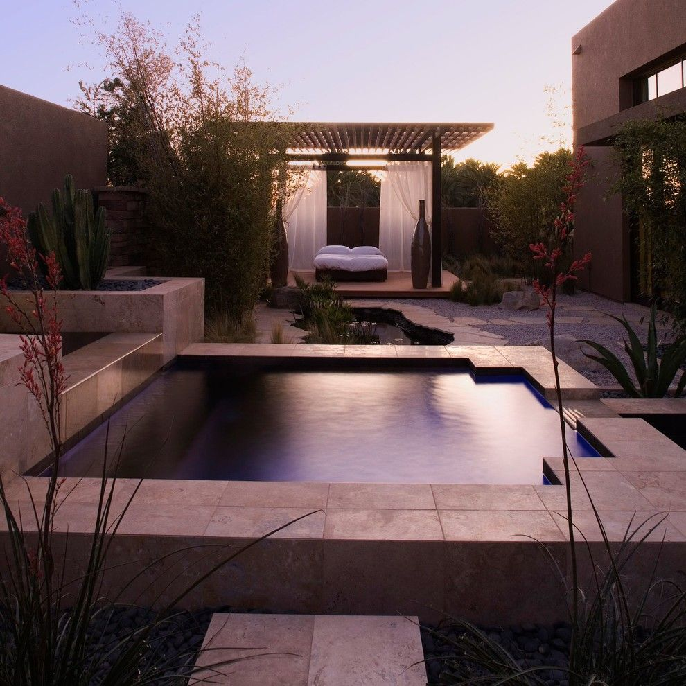 Daltile Las Vegas for a Contemporary Patio with a White Curtains and Marquis Las Vegas (2009 New American Home) by Paul Alvarez