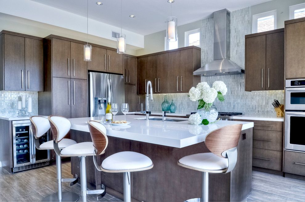 Daltile San Diego for a Contemporary Kitchen with a White Countertop and Cypress Avenue by Kristin Lam Interiors