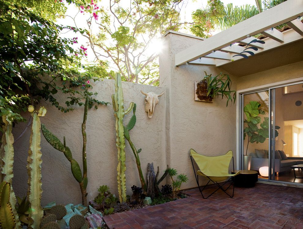 Daltile San Diego for a Southwestern Patio with a Butterfly Chair and Townhouse Renovation in San Diego by Jon+Aud Design