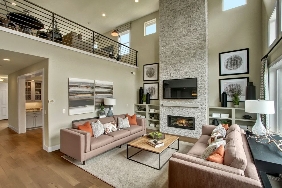 Daltile Seattle for a Craftsman Family Room with a Open Floorplan and the Enclave at Harbor Hill | Homesite 21 by Quadrant Homes