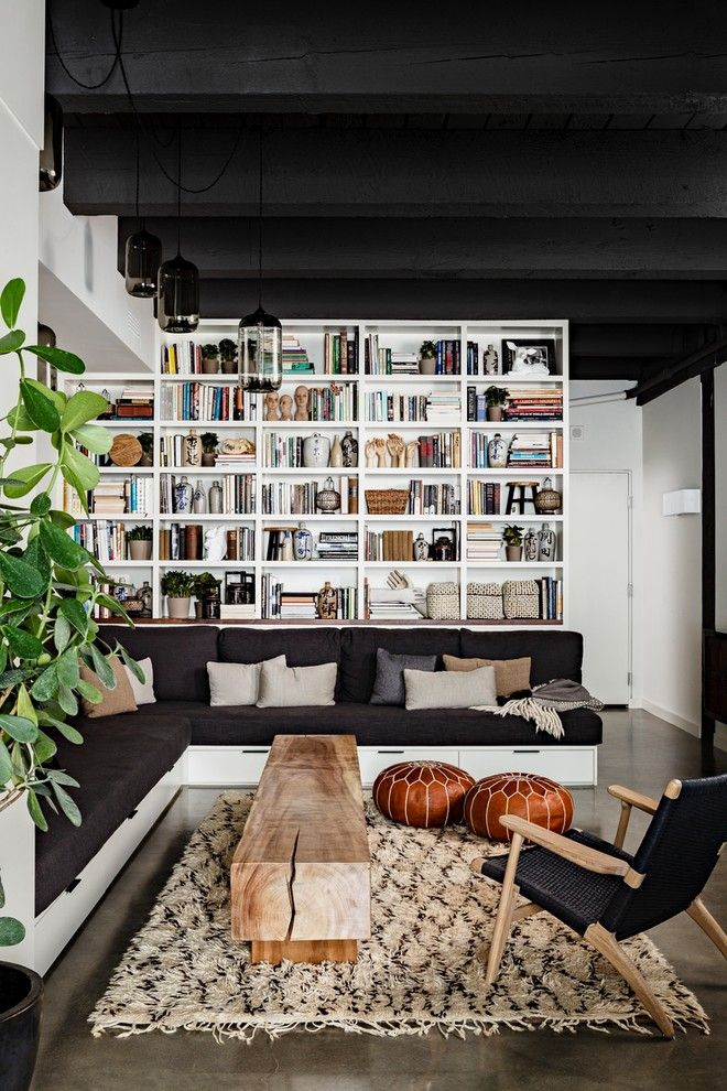 Danish Inspirations for a Industrial Living Room with a Black Sofa and Nw 13th Avenue Loft by Jessica Helgerson Interior Design
