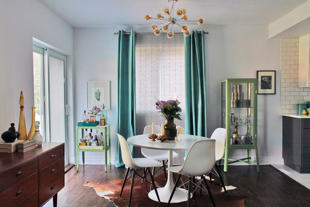 Danish Inspirations for a Midcentury Dining Room with a Glass Cabinet and My Houzz: Diy Determination in Mid Century Modern Montreal Home by Laura Garner
