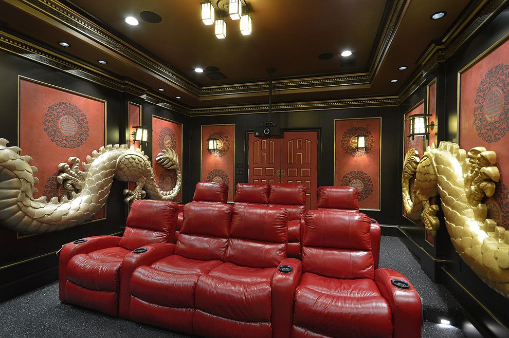 Darling Homes Houston for a Asian Home Theater with a Dragon and Asian Theme Custom Theater Room by Relative Home Systems