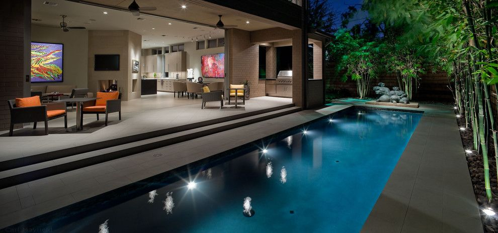 Darling Homes Houston for a Contemporary Pool with a Lap Pool and Contemporary Landscape and Pool Lap Design by Exterior Worlds Landscaping & Design