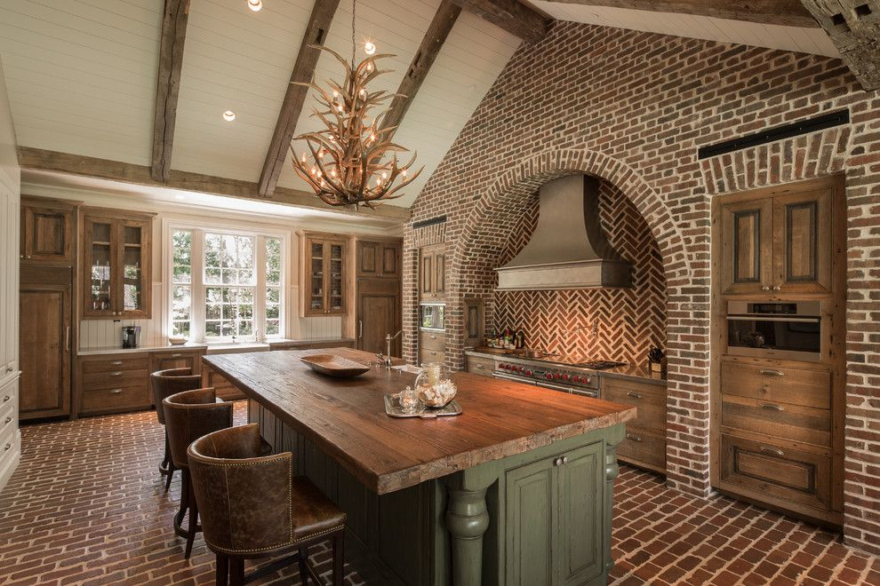 Darling Homes Houston for a Rustic Kitchen with a Red Oven Knobs and Hedwig by Thompson Custom Homes