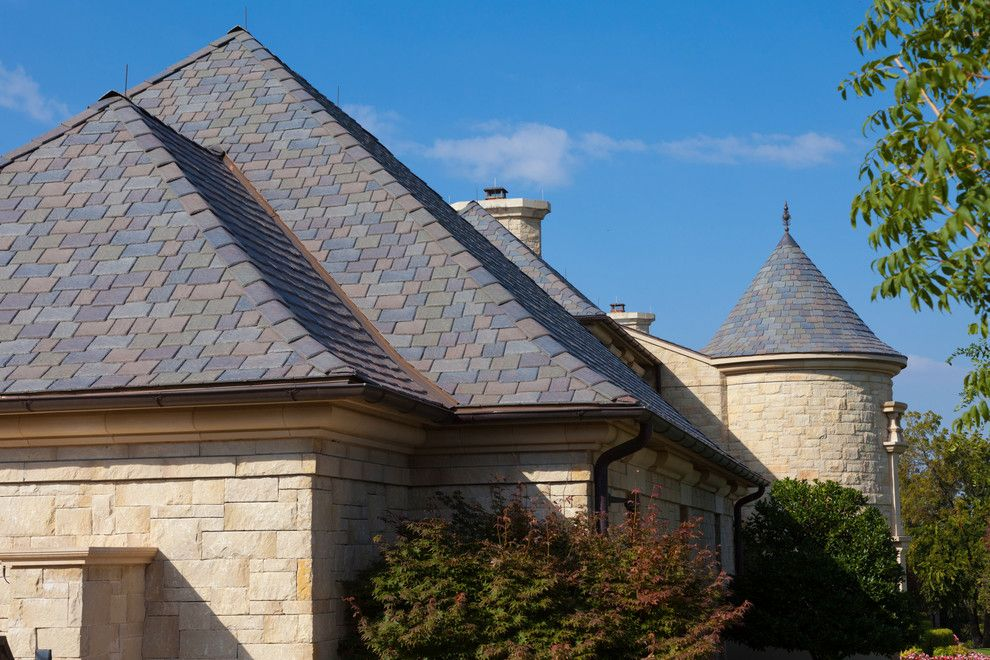 Davinci Roofscapes for a Traditional Exterior with a Stone Siding and Davinci Roofscapes by Davinci Roofscapes