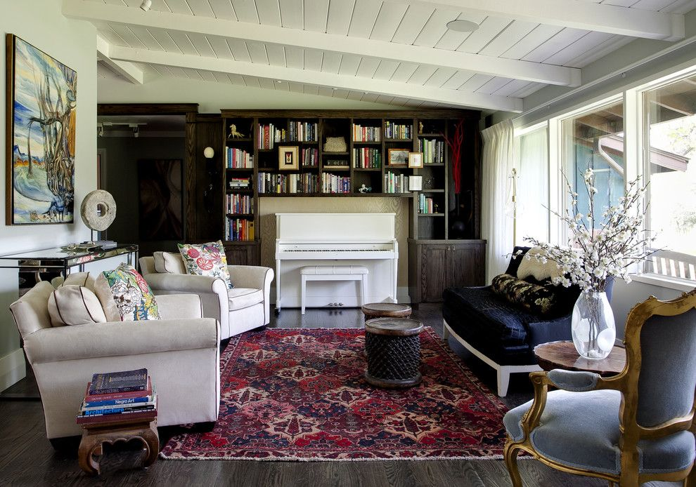 Decluttering for a Contemporary Family Room with a Curtains and Private Residence by Andrea Schumacher Interiors