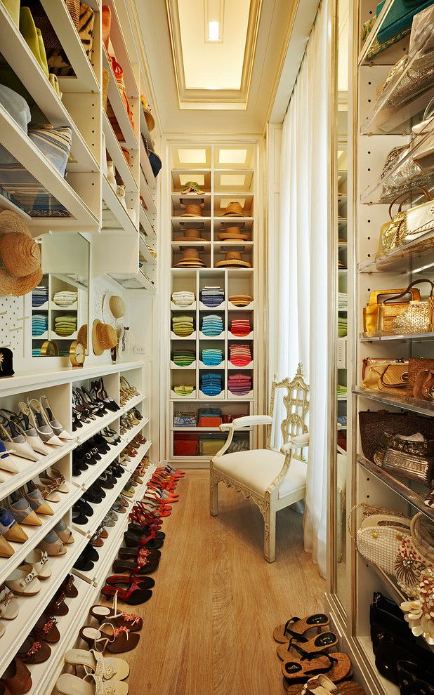 Decluttering for a Traditional Closet with a Color Coded Closet and Four Winds by Clos Ette Too