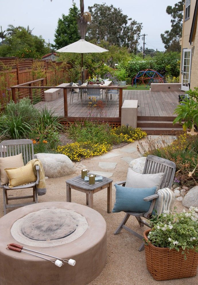 Decomposed Granite for a Beach Style Patio with a Platform Deck and Organic Modern Outdoor Living by Sage Outdoor Designs