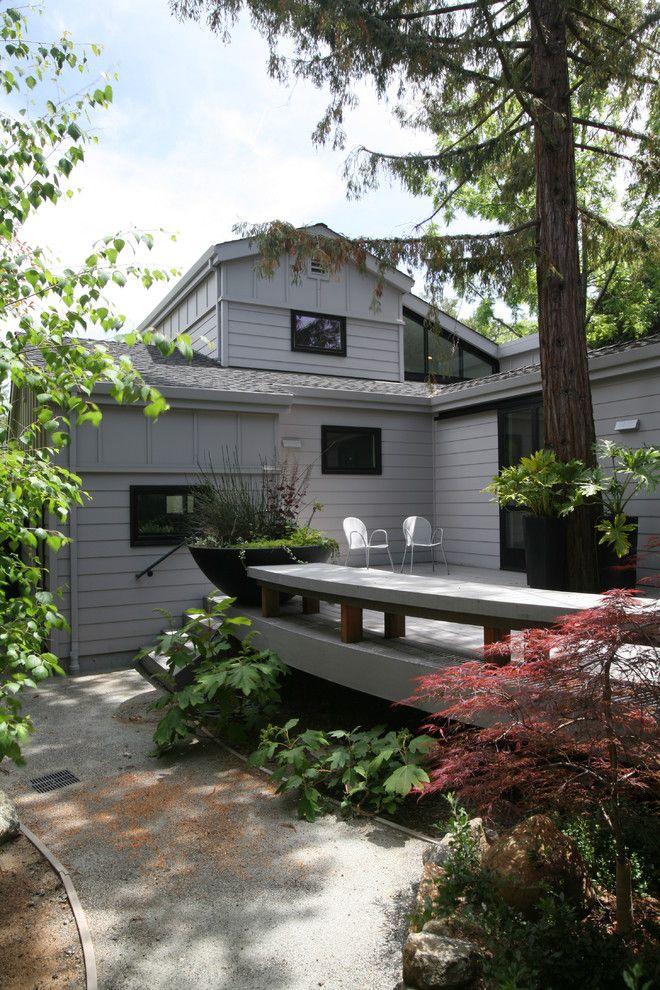 Decomposed Granite for a Contemporary Porch with a Deck Chairs and Los Gatos Contemporary Custom Home by Conrado   Home Builders