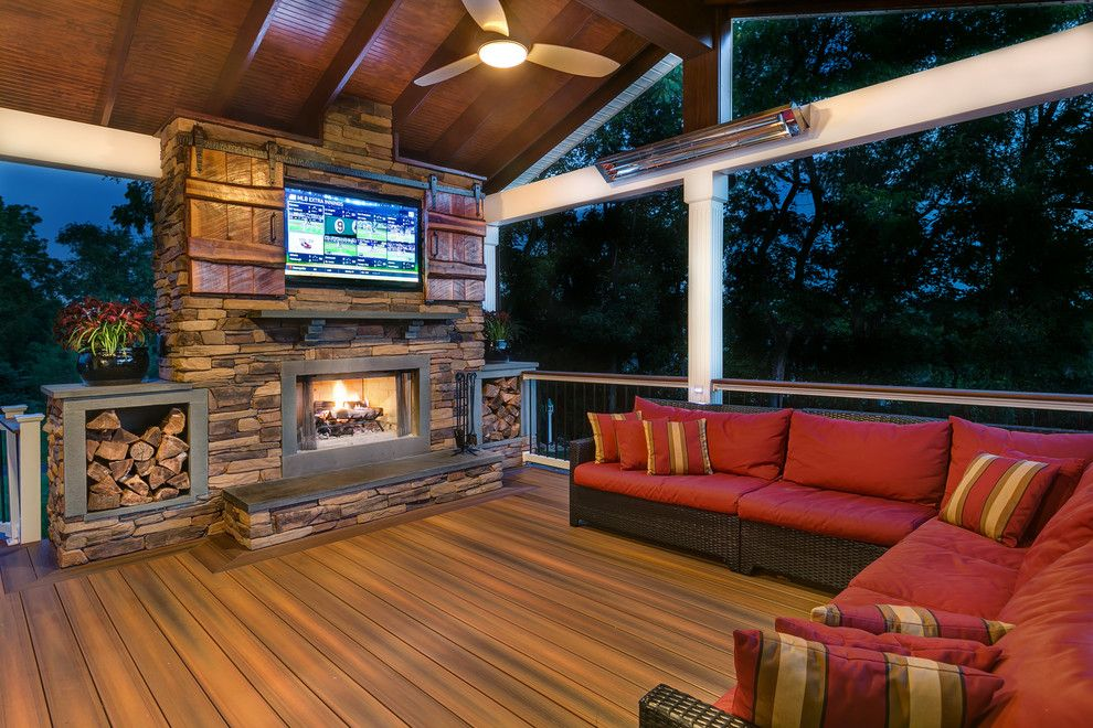 Decorium Furniture for a Rustic Deck with a Covered Patio and Fiberon by Fiberon Decking