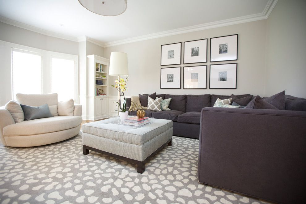 Decorium Furniture for a Transitional Family Room with a Geometric Fabric and Edinburgh Dr. by Barlow Reid Design