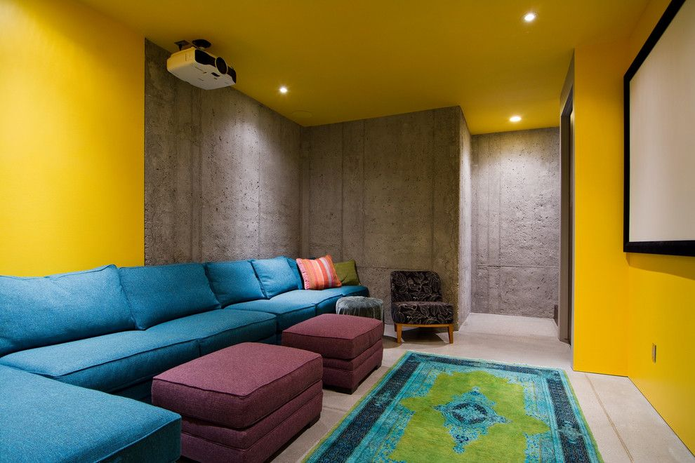 Del Monte Theater for a Contemporary Home Theater with a Projector Screen and My Houzz: The Thorns by Lucy Call