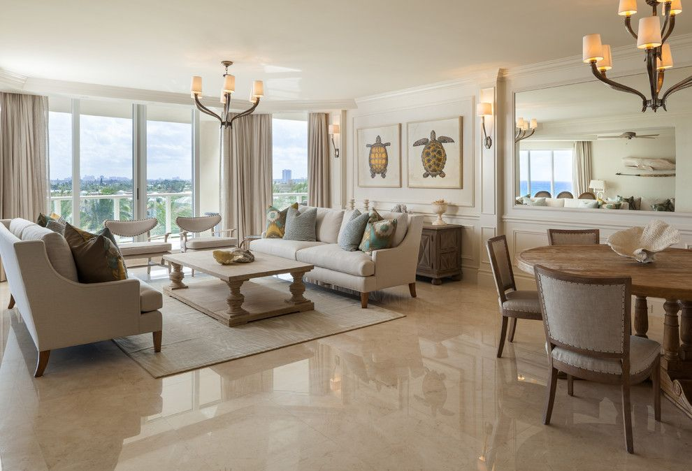 Delaney Hardware for a Beach Style Living Room with a Chandelier and Ritz Carlton Singer Island Showcase 5 by Willoughby Construction