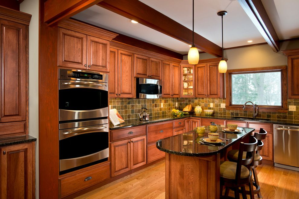 Delaney Hardware for a Craftsman Kitchen with a Classic Design and Kitchen Remodel Schenectady, New York by Bellamy Construction