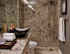 Delicatus Granite for a Contemporary Bathroom with a Bamboo and Burke by Almaden Interiors, Inc.