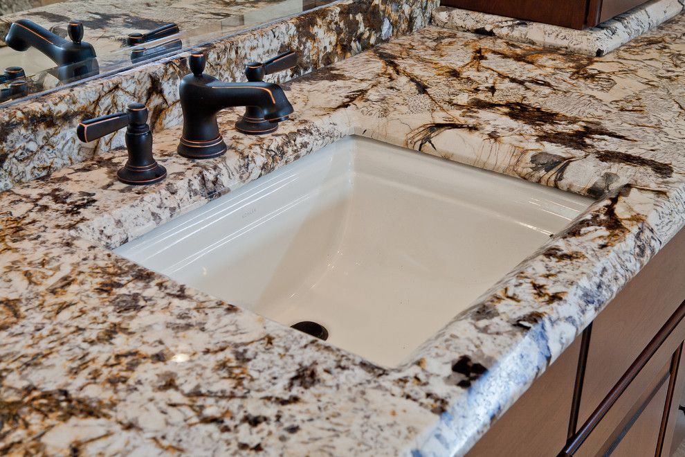 Delicatus Granite for a Contemporary Bathroom with a Black Bathroom Faucet and Juperana Delicatus Granite Tub Surround & Matching Vanities by Granite Grannies