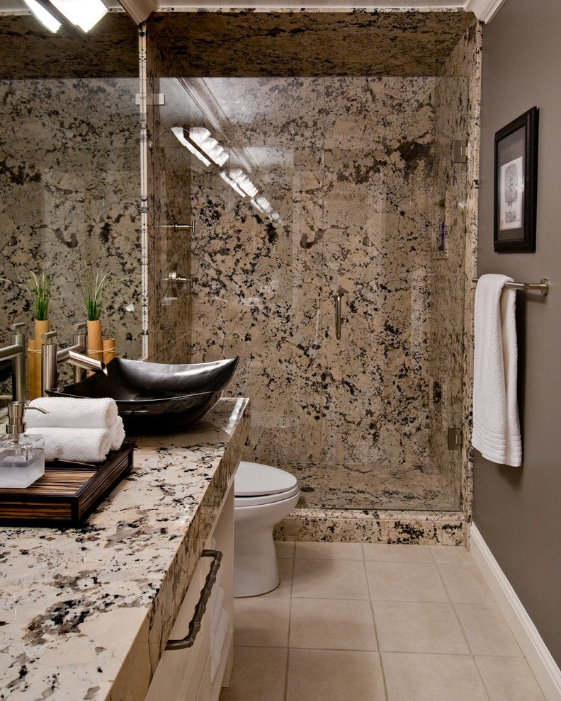 Delicatus White Granite for a Contemporary Bathroom with a Waterfall Faucet and Burke by Almaden Interiors, Inc.