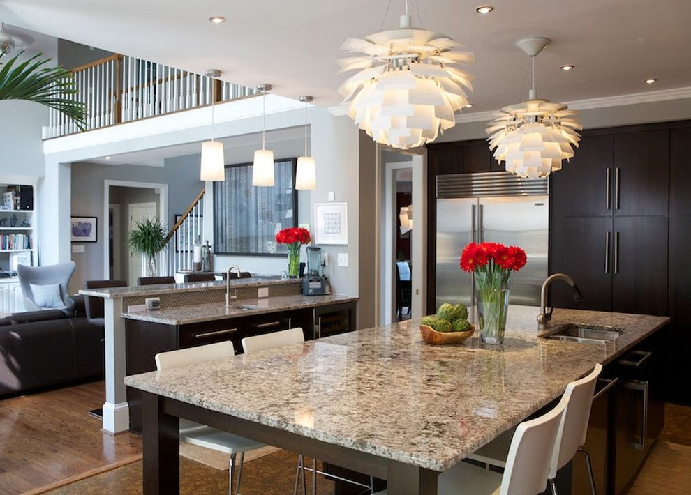 Delicatus White Granite for a Contemporary Kitchen with a Modern Icons and 2010 Jr. League Tour of Kitchens by Instinctive Design