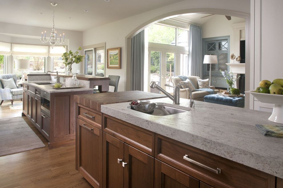 Delicatus White Granite for a Transitional Kitchen with a Two Sinks and Cherry Hills by Exquisite Kitchen Design