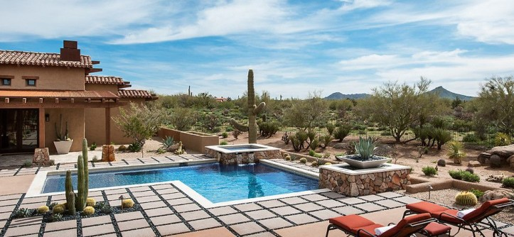 Desert Landscaping Ideas for a Southwestern Pool with a Desert Landscape and Whisper Rock Residence by Tate Studio Architects