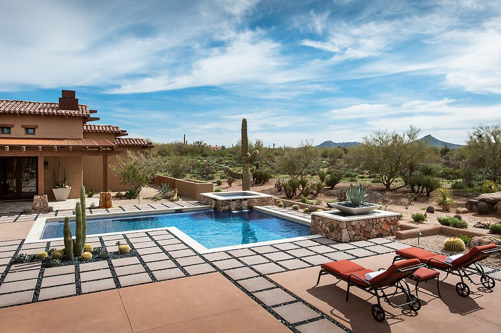 Desert Landscaping Ideas For A Southwestern Pool With A Desert Landscape And Whisper Rock Residence By Tate Studio Architects Homeandlivingdecor Com