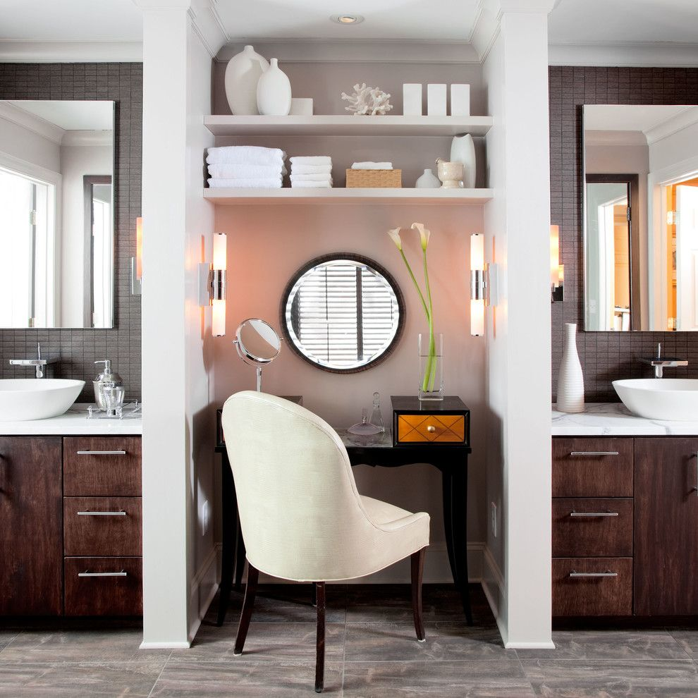 Desk Galore for a Modern Bathroom with a Dressing Table and the Silverstein Home Project by Hansgrohe Usa