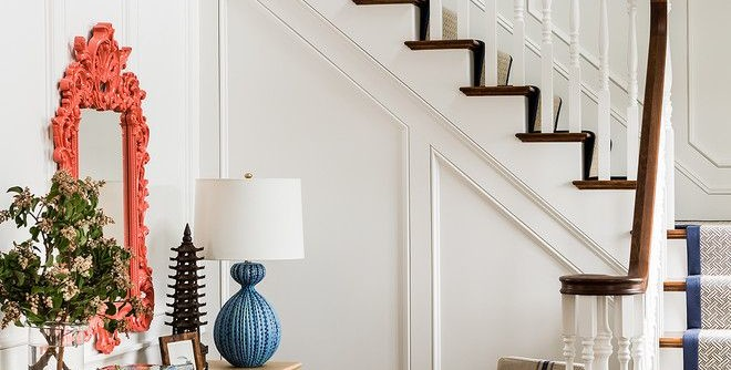 Desk Galore for a Victorian Staircase with a New England and Home on the Waves, Cohasset by Katie Rosenfeld Design