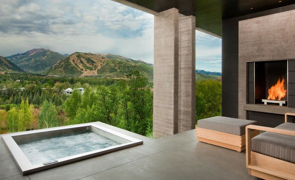 Dewey Furniture for a Contemporary Deck with a Hot Tub and Landscape Architects, Exteriors by Jason Dewey Photography