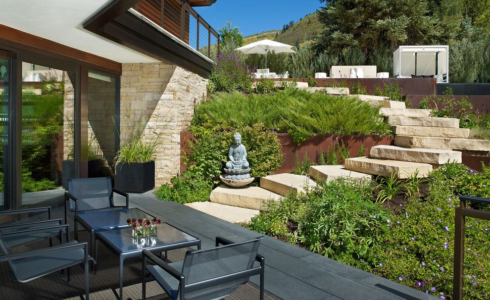 Dewey Furniture for a Contemporary Patio with a Outdoor Staircase and Various Landscape Architects, Exteriors by Jason Dewey Photography