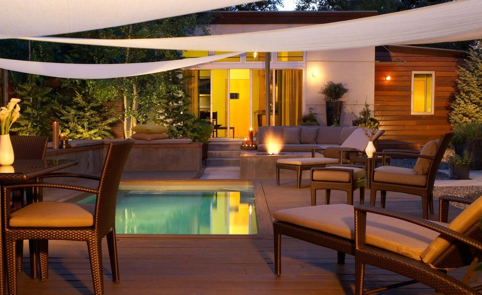 Dewey Furniture for a Contemporary Pool with a Fire Pit and Landscape Architects, Exteriors by Jason Dewey Photography