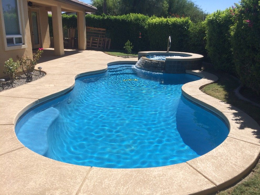 Diamond Brite for a Contemporary Pool with a Spray Deck and Pool, Spa & Patio Renovation in Rancho Mirage by Sunkist Pools & Remodeling, Inc.
