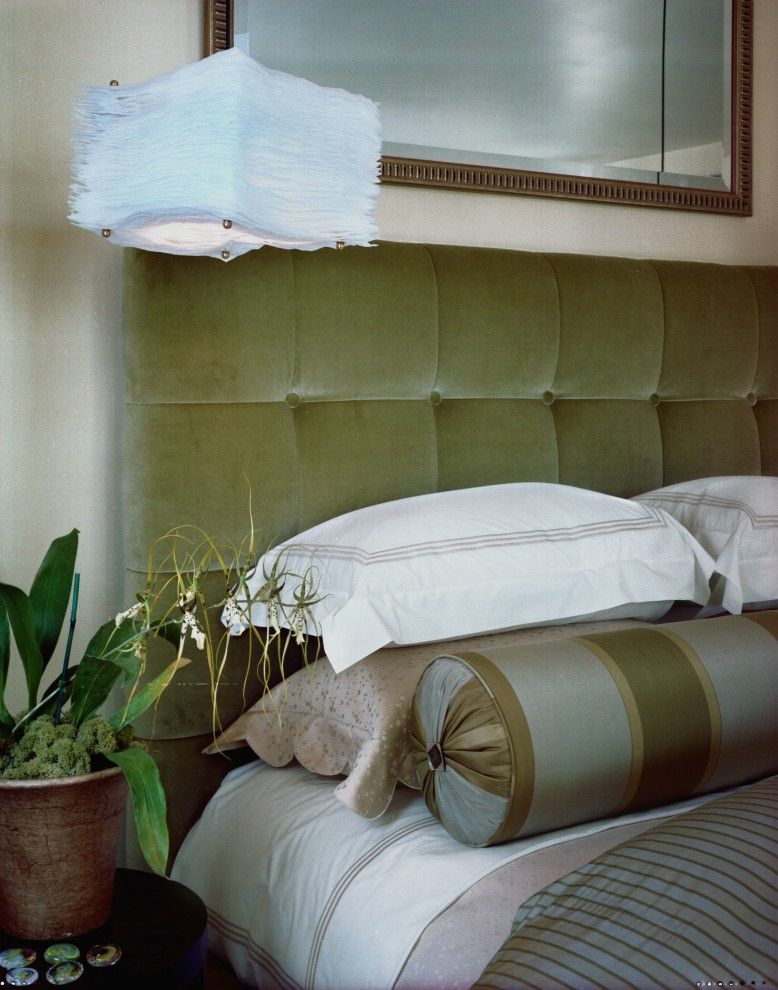 Difference Between Duvet and Comforter for a Contemporary Bedroom with a Striped Duvet Moss and Kathy Bloodworth by Kathy Bloodworth Interior Design