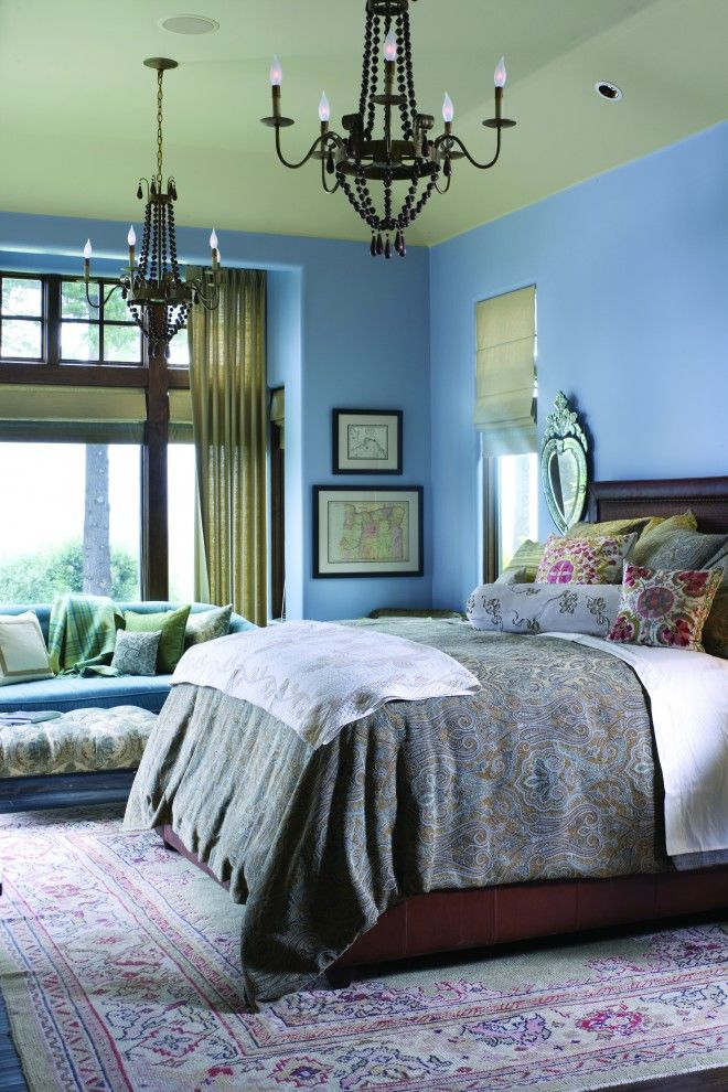 Difference Between Duvet and Comforter for a Traditional Bedroom with a Painted Ceiling and French Country Elegance by Alan Mascord Design Associates Inc
