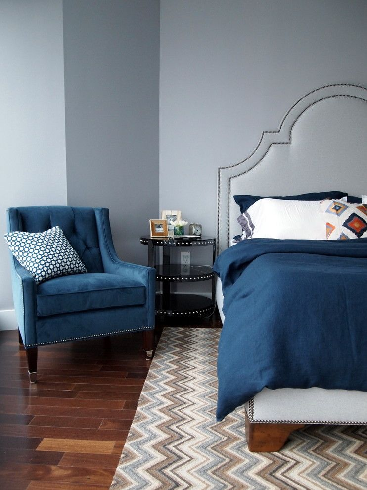 Difference Between Duvet and Comforter for a Transitional Bedroom with a Chevron and Jersey City by Elizabeth Reich